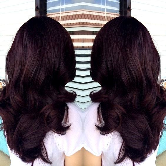 Dark intense auburn red hair color