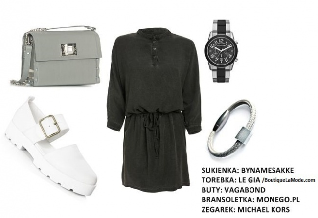 Ewelina: Polska moda? Zawsze wspieram i chętnie noszę! Grungową sukienkę podkręcam oryginalnymi białymi butami i uniwersalną torebką. Look uzupełnia zegarek w męskim stylu i nowoczesna bransoletka.