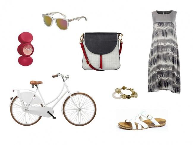 Okulary – Carrera, Torba – Boca, Sukienka – Bialcon , Buty – Caprice , Rower – Maxi , Zegarek – Nixon, Bransoletka – Menbur