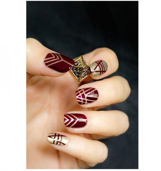 Stylowy Manicure Na święta Czerwień Plus Złoto Na Paznokciach